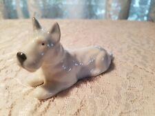 "Vtg Porcelain Blue White Dog Figurine Scottish Terrier Scottie 3 11/16"" rare"