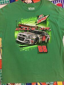 Vintage Nascar Dale Earnhardt Jr 88 Diet Mtn Dew Green T-Shirt Size 2XL