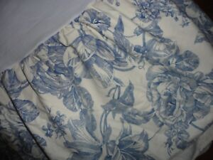 """WAVERLY BLUE & OFF WHITE LAPIS FLORAL RUFFLED TWIN BEDSKIRT SPLIT 15"""""""