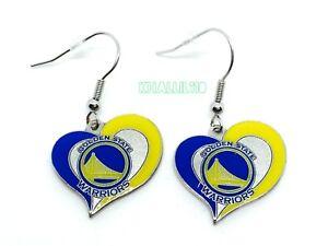 Golden State Warriors NBA Silver Swirl Heart Dangle Earrings