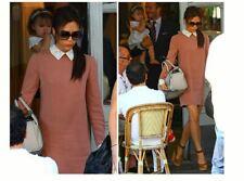 Victoria Beckham's Swan Collar Crepe Dress Peachy Pink US 2 UK 6 Silk & Cotton