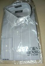 NWT John Henry  grey white stripe dress shirt  XL  N - 16  S - 34/3 button down