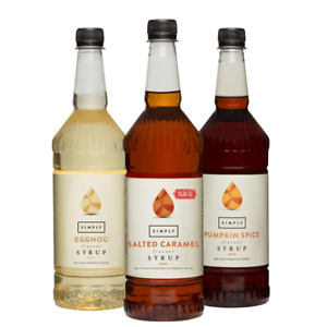 Simply Syrups | Coffee, Fruit, Iced Tea & Sugar-Free Options | 1 Litre Bottle