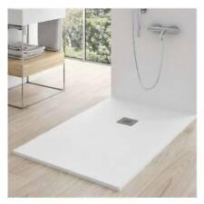 Piatto doccia FLAT 80x100 cm bianco effetto pietra in mineralmarmo con piletta