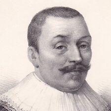 Portrait XIXe Maarten Tromp Amiral Marine Pays Bas Lithographie Navy 1835