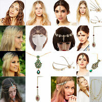 Fashion Women Metal Rhinestone Adjustable Chain Jewelry Head Piece Hair Band