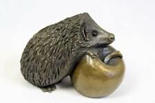 Oriele Cold Cast Bronze Small Hedgehog On Apple Figure Figurine Decoration