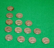 WASHINGTON 90% PERCENT SILVER QUARTERS - LOT OF 14 - 1950-1964 survival money