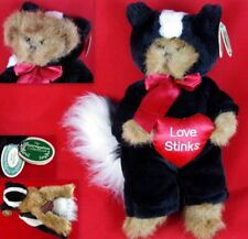 "BEARINGTON ""LOVE STINKS"" JOINTED 11"" VALENTINE'S TEDDY BEAR IN SKUNK OUTFIT TAGS"