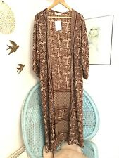 Long Silk Mix Kimono Brown Housecoat Festival Indian Vintage Boho Gypsy 10 12 14