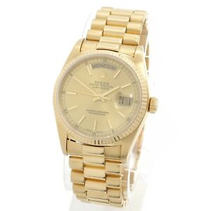 18K GOLD ROLEX OYSTER PERPETUAL DAY DATE MENS PRESIDENT 18038 WATCH NR #W271-4