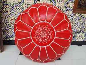Ottoman Red Foot stool Leather Round  Poof Pouffe Hassock CHRISTMAS PRESENT GIFT