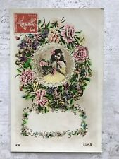 Beautiful Child French Fashion Flowers Original Vintage Postcard
