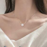 Crystal Snowflake Frozen Flower Silver Necklace Pendant Hot Girls Gift