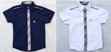 Boys designer short sleeve collared shirt  size 18-24 months - 6, navy & white
