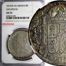 Mexico SPANISH Ferdinand VII 1819 ZS AG 8 Reales NGC AU55 ZACATECAS KM# 111.5