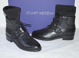 New $585 Stuart Weitzman Stitchwork Black Nappa Leather Ankle Combat Boots 7