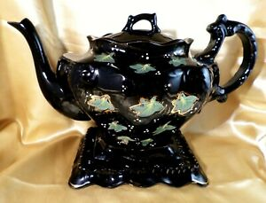 Antique JACKFIELD Teapot and Stand VICTORIAN Black VINTAGE Floral HAND DECORATED