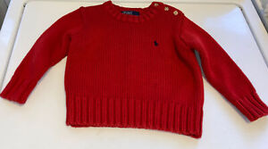 Boys Red Polo Ralph Lauren Sweater Size 2-2T Blue Logo