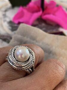 DAVID YURMAN Sterling Silver 925 Diamond Crossover Pearl Ring Size 8