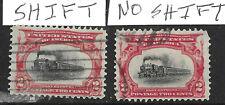 Sc #295 Pair Color Shift Fast Train EFO Pan Am 2 Cent 1901 US 85B41