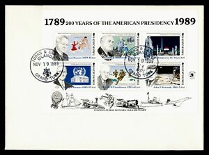DR WHO 1989 TURKS & CAICOS ISLANDS FDC AMERICAN PRESIDENTS S/S  g20572