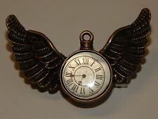 steampunk brooch badge pin Harry Potter clock watch owl wings time flies LARP