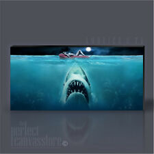 JAWS AWESOME SHARK AT NIGHT ICONIC CANVAS ART PRINT ArtWilliams UPGRADE 120x56cm