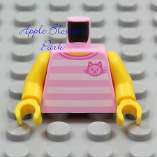 NEW Lego Female PINK T-SHIRT MINIFIG TORSO Girl Striped Halter Top w/Kitten Cat