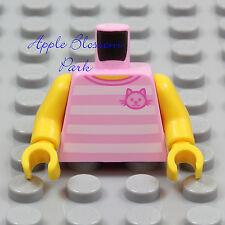 NEW Lego Female PINK T-SHIRT MINIFIG TORSO Girl Striped Halter Top w/Kitten Cat
