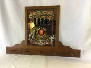 Miller Lite Wood Framed Mirror and Coat Rack