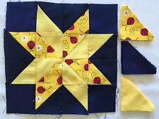 4 Die cut star Quilt block  shade of blue kits # 2659
