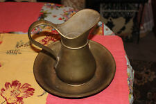 Antique Bronze Wash Bowl Basin W/Pitcher-Engraved RS W/Crown-Very Heavy-LQQK