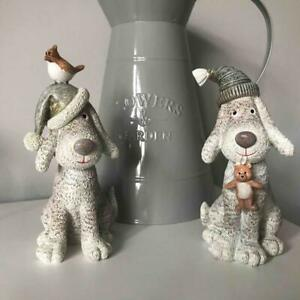 Lovely Christmas Sitting Glittery Dog with Hat -  Holding Teddy or Bird on Hat
