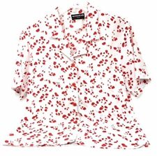 Women's Petite Short Sleeved Blouse White With Red Design Button Down Blouse