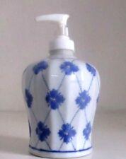 Portasapone liquido ceramica decorato bianco shabby bagno