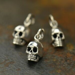 925 Sterling Silver Skull Charm Necklace Gothic Goth Skeleton Day of Dead 969
