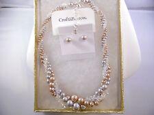 Vintage Croft&Barrow 3-Strand Beaded Necklace & Earrings