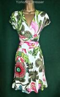 New DESIGUAL Cream Floral DANIEL Fit'N'Flare Stretch Jersey DRESS Uk 10 12 14 16