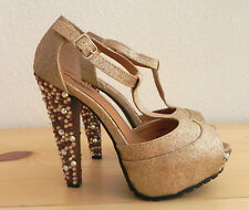 Charlotte Russe Platform Heels One of Kind Attaching Crystals by Hand Size 5.5M