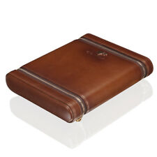 COHIBA Brown Leather Cedar Lined Cigar Case 6 Tube Humidor With Humidifier