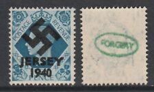 GB Jersey 3605 -1940 Swastika Overprint forgey om genuine 10d stamp unmounted