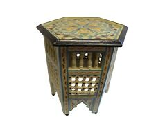 Moroccan Octagonal Moucharabieh Hand painted Table Arabic Furniture End Table