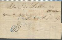 1839 Lettre Marque linéaire DEBOURSES DEPUTES ROUGE RRR. P522