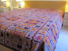 K8-HANDMADE BLOCK PRINT KANTHA EMBROIDERY BEDSPREAD THROW SOFA COVER WALLHANGING
