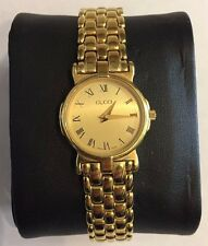 GUCCI 3400 L GOLD TONE ROMAN NUMERAL LADIES WATCH~NEW BATTERY