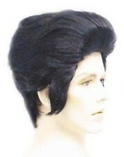 1950S 50'S ADULT MENS ELVIS WIG BLACK ROCKER POP STAR GREASE COSTUME WIG 4025