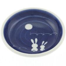 "2 PCS Japanese 3.75""D Sushi Soy Sauce Wasabi Dish Blue Moon Rabbit Made in Japan"
