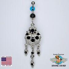Beautiful Chandelier Dangle Belly Navel Ring Bar Elegant Black CZ Piercing (D13)