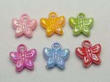 100 Mixed Color Plastic Butterfly Charms Pendants 15X15mm